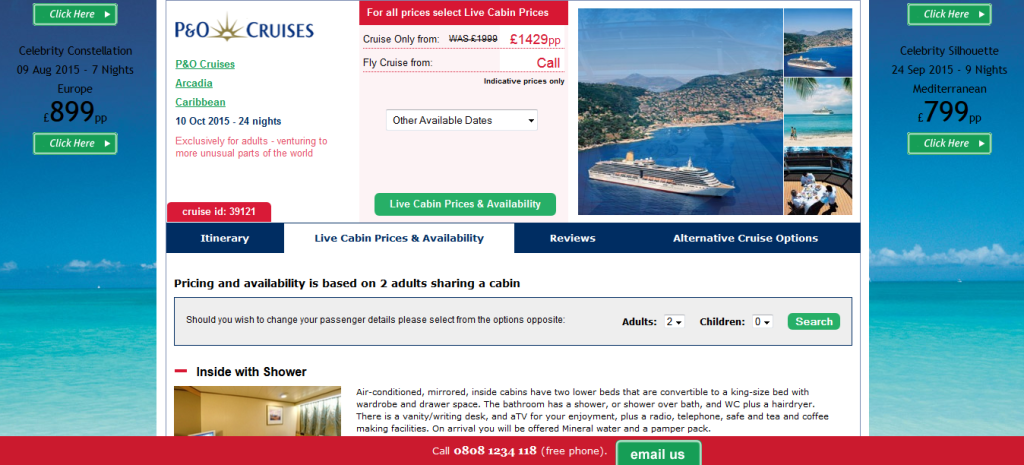 Cruise118.com product page Hit Search CRO blog
