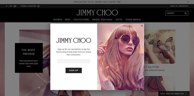 Jimmy Choo newsletter sign up form