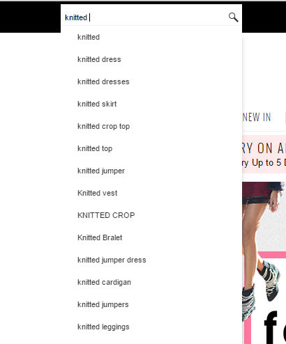 Use auto complete site search to drive revenue to your fashion website
