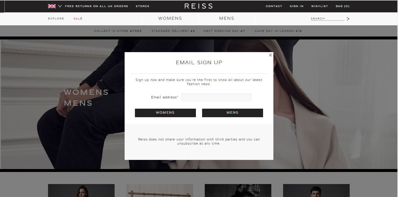 Reiss newsletter sign up form