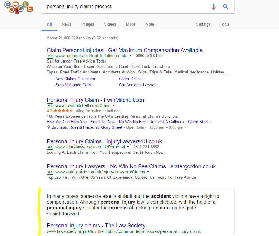 Rich snippets for personal injury claims process