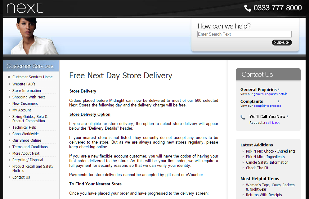 Next's omni-channel strategy, next day delivery to store