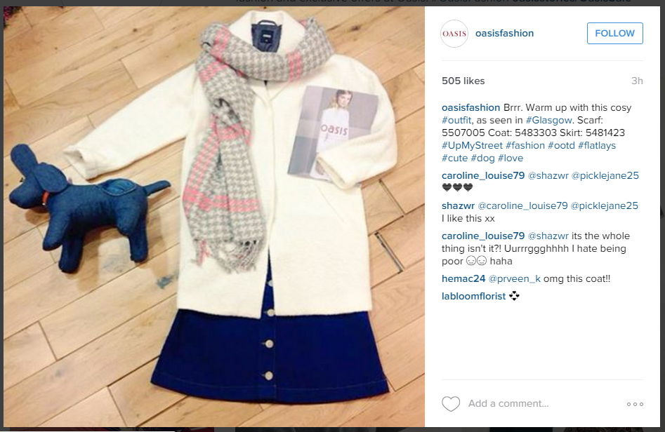 Oasis' istagram account part of their omni-channel strategy