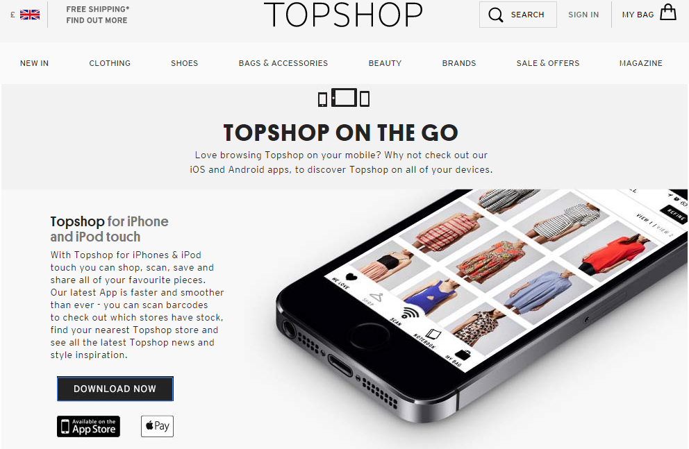 Topshop omni-channel strategy, barcode scanner app