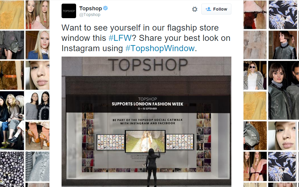Topshop omni-channel strategy, Topshop Window Instagram campaign