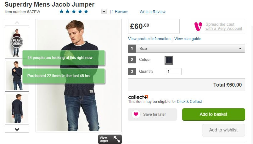 Add how many people recently viewed the item to drive revenue to your fashion website